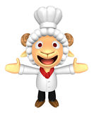 3D Chef Sheep Mascot has been welcomed with both hands. 3D Anima Royalty Free Stock Photo