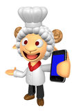 3D Chef Sheep Mascot the left hand guides and the right hand is Stock Photo