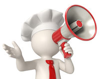 3d chef speaking in megaphone royalty free stock images