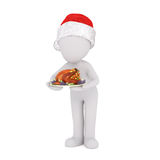3d chef or waiter serving Christmas dinner Stock Photos