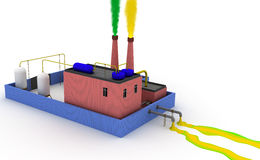 3D Chemical plant polluting the environment, left Stock Images