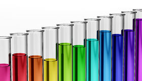 3d - chemistry - research - test tube - chemical. Glossy test tubes with rainbow colored, different filled liquids Royalty Free Stock Images