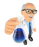 3D Chemistry teacher with a flask Royalty Free Stock Images