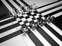 3d chess board with figures. The concept design of futuristic chess figures and checkerboard Royalty Free Stock Photo