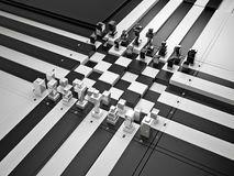 3d chess board with figures. The concept design of futuristic chess figures and checkerboard Royalty Free Stock Photos
