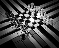 3d chess board with figures. The concept design of futuristic checkerboard. An empty board for chess in modern style Stock Photography
