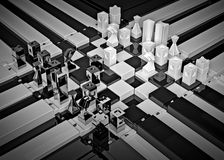3d chess board with figures. The concept design of futuristic checkerboard. An empty board for chess in modern style Stock Image