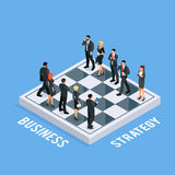 3d chess with businessmen and business women as figures. Isometric concept of business strategy. 3d chess with businessmen and business women as figures. Two Stock Photos