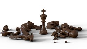 3D Chess Wooden King Knock Out Royalty Free Stock Photos