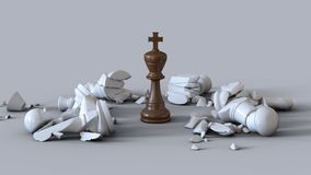 3D Chess Wooden King Knock Out Stock Image