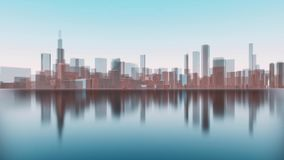 3D Chicago city skyscrapers reflected in water vector illustration