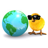 3d Chick studies a globe of the Earth Stock Photo