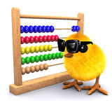 3d Chick in sunglasses with abacus Stock Photos