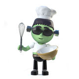 3d Child frankenstein makes a cake. 3d render of a cute frankenstein wearing a chefs hat and holding a whisk and mixing bowl Stock Photography