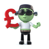 3d Child frankenstein monster has UK Pounds currency symbol Royalty Free Stock Image