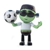 3d Child frankenstein monster loves to play football Stock Photos