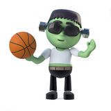 3d Child Frankenstein plays basketball Royalty Free Stock Photo
