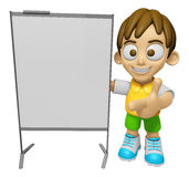 3D Child Mascot is concise explanation of a whiteboard. Work and Stock Image