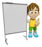 3D Child Mascot is concise explanation of a whiteboard. Work and Royalty Free Stock Photo