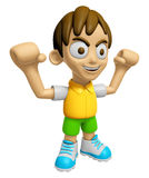 3D Child Mascot is fighting gestures. Work and Job Character Des Royalty Free Stock Photos