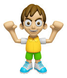 3D Child Mascot is fighting gestures. Work and Job Character Des Stock Photos