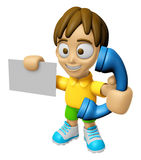 3D Child Mascot hand is holding a business card and telephone. W Stock Photos