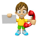 3D Child Mascot hand is holding a business card and telephone. W Royalty Free Stock Photos