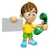 3D Child Mascot hand is holding a business card and telephone. W Royalty Free Stock Image