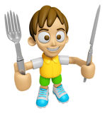 3D Child Mascot hand is holding a Fork and Knife. Work and Job C Stock Photography