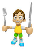 3D Child Mascot hand is holding a Fork and Knife. Work and Job C Stock Images