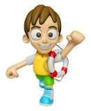 3D Child Mascot the hand is holding a Lifebelt. Work and Job Cha Stock Image