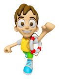 3D Child Mascot the hand is holding a Lifebelt. Work and Job Cha Stock Photo
