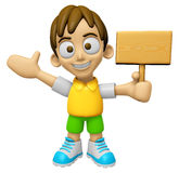 3D Child Mascot the hand is holding a picket. Work and Job Chara Royalty Free Stock Photography