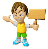 3D Child Mascot the hand is holding a picket. Work and Job Chara Royalty Free Stock Images