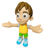 3D Child Mascot has been welcomed with both hands. Work and Job Stock Photo