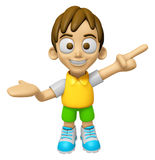 3D Child Mascot has been welcomed with both hands. Work and Job Stock Photography