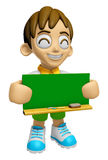 3D Child Mascot holding a big board with both Green chalkboard. Royalty Free Stock Photography