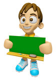 3D Child Mascot holding a big board with both Green chalkboard. Royalty Free Stock Photo