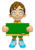 3D Child Mascot holding a big board with both Green chalkboard. Royalty Free Stock Image