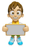 3D Child Mascot holding a big board with both hands. Work and Jo Royalty Free Stock Photography