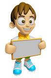 3D Child Mascot holding a big board with both hands. Work and Jo Stock Photo
