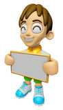 3D Child Mascot holding a big board with both hands. Work and Jo Stock Photography