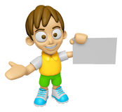 3D Child Mascot is holding a business card. Work and Job Charact Royalty Free Stock Photography