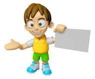 3D Child Mascot is holding a business card. Work and Job Charact Stock Image