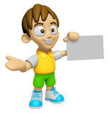 3D Child Mascot is holding a business card. Work and Job Charact Stock Photo