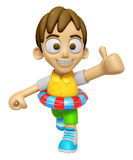 3D Child Mascot is played in the pool on a tube. Work and Job Ch Stock Images