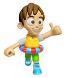 3D Child Mascot is played in the pool on a tube. Work and Job Ch Royalty Free Stock Photography