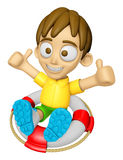 3D Child Mascot is played in the pool on a tube. Work and Job Ch Royalty Free Stock Images