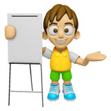 3D Child Mascot is presentation in front of the a briefing chart Stock Image