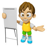 3D Child Mascot is presentation in front of the a briefing chart Royalty Free Stock Photos
